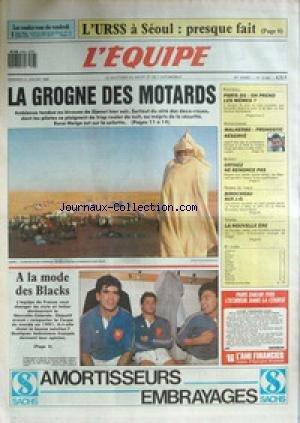 EQUIPE (L') [No 12960] du 08/01/1988 - L'U.R.S.S. A SEOUL - LA GROGNE DES MOTARDS - AU BIVOUAC DE DJANET SUR LE DAKAR - A LA MODE DES BLACKS - PSG - ON PREND LES MEMES - PARIS-DAKAR - MALHERBE - BASKET - ORTHEZ - TENNIS DE TABLE - BIROCHEAU- TENNIS. par Collectif