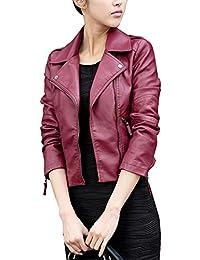 Mujer Chaqueta Manga Larga Imitación Cuero Cazadoras Outwear Biker Jacket con Cremallera - Vino Rojo / XL