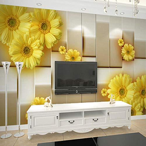 Tapete,Nach Wandbild Tapete 3D Stereo Erleichterung Gelb Blumen Landschaft 3D Wandbild Wohnzimmer Tv Sofa Hintergrund Wand Decor 3D Fresko,200 * 140cm - Platten Papier Hellen Gelben Die