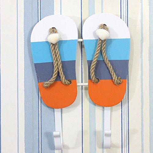 olizee TM Beach Mottoparty Wandhaken Handtuch Hat Kleiderbügel Creative Wand Dekorationen 2-Colored Stripes Sandals - Ocean Beach Stripe