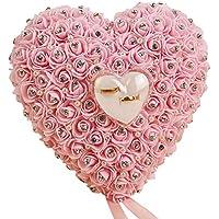 xMxDESiZ Caja de anillo de proposición con forma de corazón de rosa romántica para ...