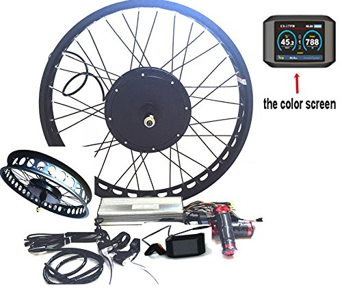 "theebikemotor 3000W Hub Motor Bicicleta eléctrica Kit de conversión + LCD or TFT Display + Freno de Disco Rueda Trasera (26"" * 4.0 Fat Wheel + 7 Speed Gear, 72V3000W + TFT Display)"