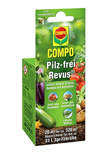 COMPO Pilz-frei Revus, Bekämpfung von Pilzkrankheiten an frischen Kräuter, Gemüse und Kartoffeln, Konzentrat inkl. Messbecher, 20 ml (ca. 320m²) - Garten Frische Kräuter