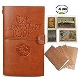 Notre carnet de voyage Journal bloc-notes 4 pièces rechargeable Carnet de notes en cuir Carnet de voyage Agenda quotidien + 18 emplacements pour cartes + 18 tampons