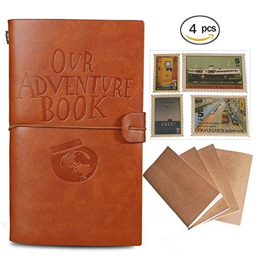 Cuaderno de cuero 'Our Adventure Book',rellenable,Bloc de notas,diario de viaje