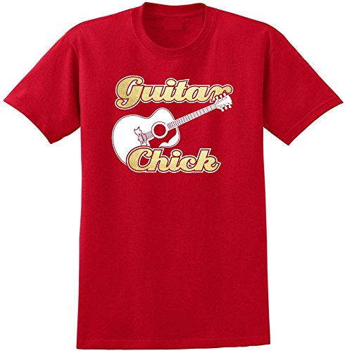 Acoustic Guitar Chick - Red Rot T Shirt Größe 87cm 36in Small MusicaliTee (Martin Guitar T-shirt)