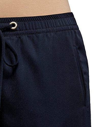 oodji Ultra Donna Pantaloni con Elastico in Vita Blu (7900N)