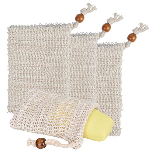 FOCCTS 4 Stück Seifensäckchen Sisal, Natur Seifenbeutel Seife Tasche Peeling Soap Saver Pouch Halter zum Schäumen und Trocknen von Seifen 14 x 9,5 mm