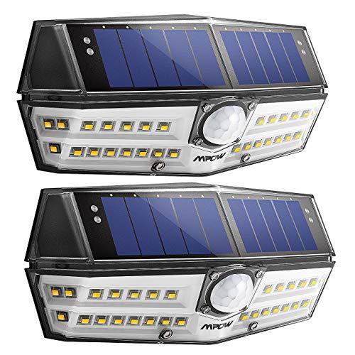 [2 Pezzi] Mpow 30 LED Luce Solare Impermeabile IP67, Luce Calda, Lampada Solare con Sensore di Movimento, Super SunPower Pannello Solare, Grande Luce Solare Esterna per Giardino, Cortile, Garage,Patio