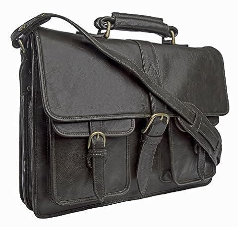 Castello Briefcase Bag Top grain Leather Messenger Laptop Shoulder Men Business Handbag Vintage Mens Satchel Cross body Attache Case Genuine New Travel