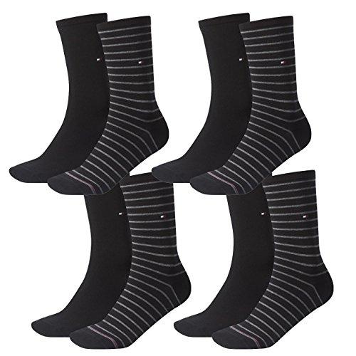 Tommy Hilfiger Damen Socken Small Stripe Casual Socken 4er Pack, Größe:39-42, Farbe:Black (200)