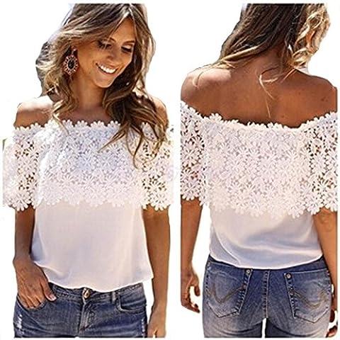 Women's T-shirt, Manadlian Fashion Sexy Women Off Shoulder Tops Casual Blouse Lace Crochet White Chiffon Shirt (White, XL)