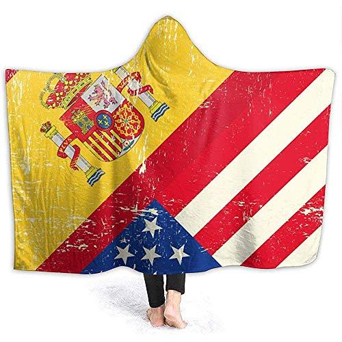 Bandiera americana spagnola Coperta con cappuccio da donna Coperta di flanella super morbida Coperta...