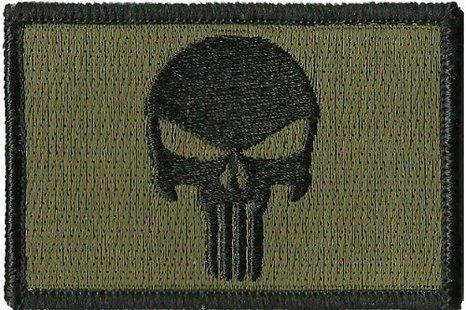 Olive-Drab-Punisher-Skull-Morale-Militare-Tattico-Softair-Outlaw-cerotto-da-Spider-Patch
