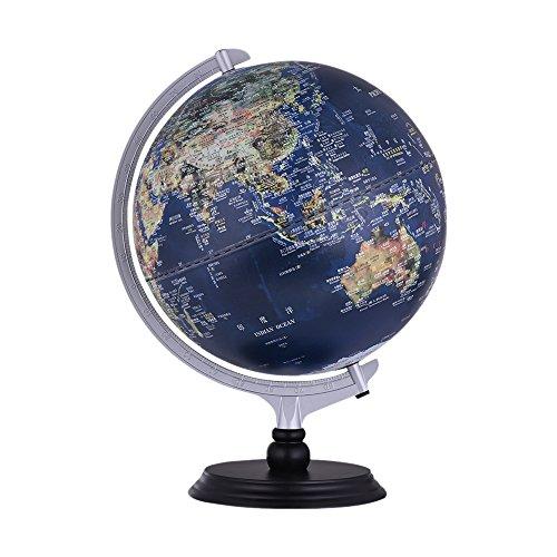 aibecy USB 2in 1LED Schreibtisch Globe Welt Tellurion Vista Tag-SAT-Bild Nachtsicht politische Karte beleuchtet mit Halterung für Büro Schüler der Schule Zubehör Bildungs (Bild Globe)