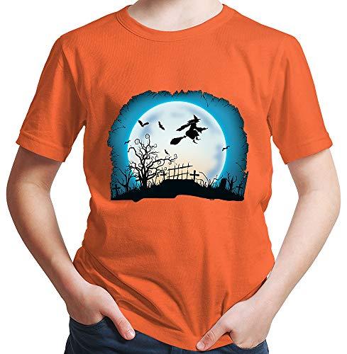 Hexen Kostüm Plus Größe - HARIZ  Jungen T-Shirt Hexe Mond Fliegen Halloween Kostüm Horror Karneval Plus Geschenkkarten Orange 104/3-4 Jahre