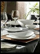 Prometeo il piatto steak completa l'elegante collezione Prometeo caratterizzata da una lavorazione materica in rilievo sulla parete esterna. Set da tavola di piatti realizzati in vetro opale temperato, 18 pezzi composti da 6 piatti piani, 6 f...