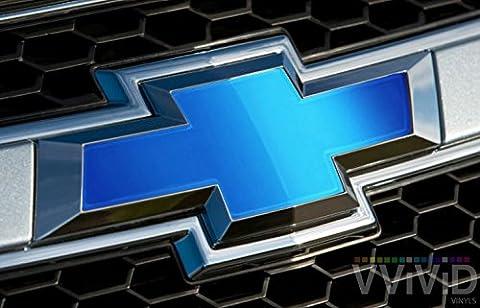 VVIVID Blue Matte Metallic Auto Emblem Vinyl Wrap Overlay Cut-Your-Own