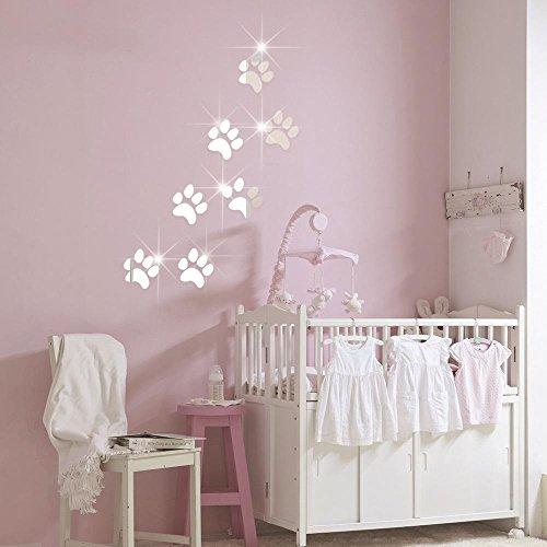 PLZY Footprint Spiegel Aufkleber 3D Wohnzimmer Schlafzimmer Badezimmer Kinderzimmer Selbstklebend Abnehmbare 7 Stück 54 * 79CM, Silver -