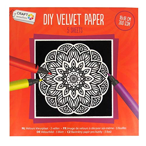 Craft Sensations DIY En velours papier - 5 feuilles de coloriage, dessins variés, 180 mm Carré, Lot Orange