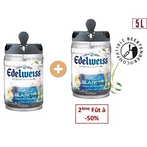EDELWEISS Lot de 2 Futs de biere blanche - Originale - Aromatisée aux herbes des montagnes - Compatible Beertender - 5 L