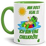 Tasse mit SpruchMir Egal Ich Bin Eine Chillkröte Innen & Henkel Hellgrün - Mug/Cup / Becher/Lustig / Witzig/Geschenk-Idee/Fun