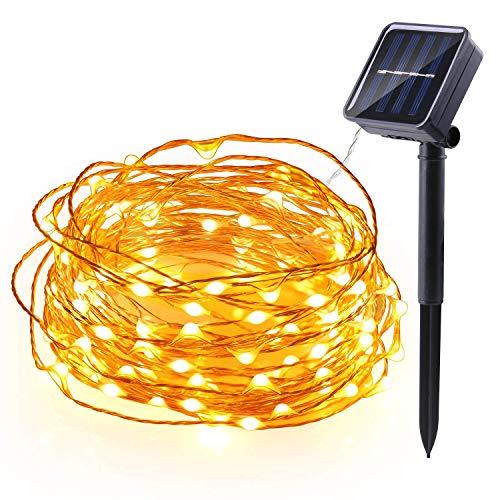 Qedertek Solar Kupferdraht Lichterkette, Weihnachten Lichterkette mit 100 LED Warmweiß 10m 8 Modi Wasserdicht Weihnachtsbeleuchtung für Außen Garten Party Hochzeit Weihnachten Deko