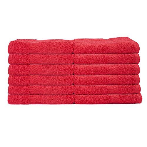 Westward Ho!! - Pack de 12 toallas de baño (50 x 85 cm, 390 g/m², algodón peinado), color rojo
