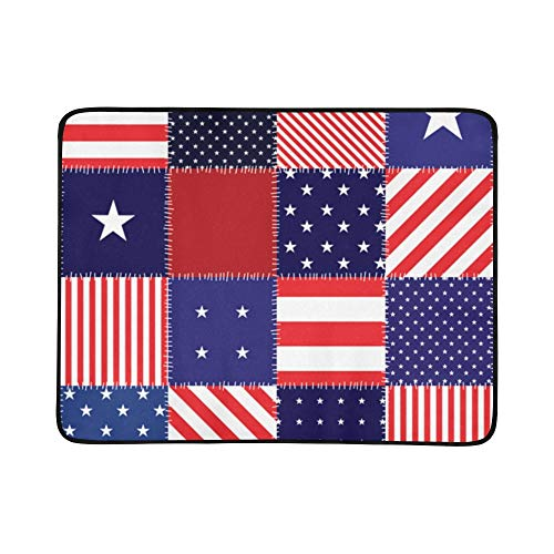 EIJODNL Patchwork American Flag Portable and Foldable Blanket Mat 60x78 Inch Handy Mat for Camping Picnic Beach Indoor Outdoor Travel