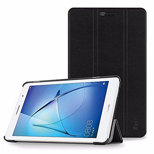 Huawei Mediapad T3 8.0 Hülle, EasyAcc Ultra Schlank Schutzhülle Case mit Zwei Einstellbarem Standfunktion Für Huawei Mediapad T3 8.0 2017, Schwarz (Leder Rucksack Flip)
