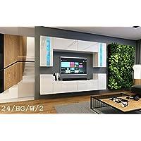 HomeDirectLTD Moderno Conjunto de Muebles de salón Concept 24, Muebles para Sala de Estar, Modernos Muebles modulares con Iluminación LED Opcional (24_HG_W_2, LED Blanco)