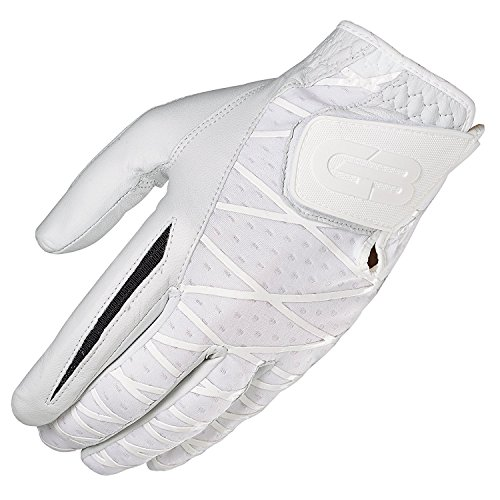 GRIP BOOST Herren Hand-Golfhandschuh Cabretta-Leder Schafsleder Rutschfeste Golfhandschuhe, Herren, Left, weiß, Small -