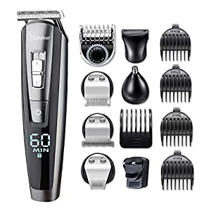HATTEKER Beard Trimmer for Men Cordless Hair Trimmer Clipper Mustache Trimmer Body Groomer Kit Precision Trimmer Nose Trimmer Waterproof USB Rechargeable 5 in 1