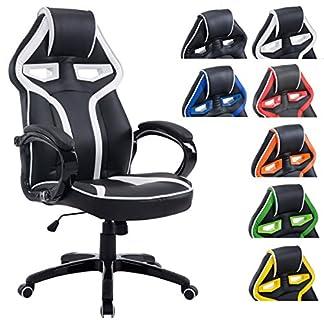 CLP Silla con diseño deportivo SCHUMI con tapizado de cuero sintético. Esta silla de oficina gaming tiene mecanismo de balanceo, la altura del asiento es regulable y soporta un peso máximo de 150