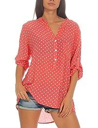 df156f8568bb43 Malito Damen Bluse mit Punkten | Tunika mit ¾ Armen | Blusenshirt auch  Langarm tragbar