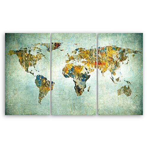 ge Bildet® hochwertiges Leinwandbild XXL - Weltkarte Retro - Weltkarte Leinwand - 165 x 100 cm mehrteilig (3 teilig) 2200 I
