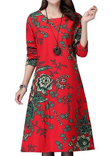 P Ammy Fashion Ammy Fashion Women's Floral Cotton & Linen Crew Neck Long Sleeves Fleecy Warm Lining Dress