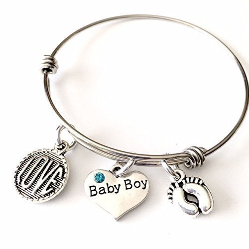 Jesse Janes Jewelry Mom's Women to Be, Baby Boy Gravidanza Annuncio Love Bangle Bracelet