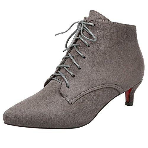 Artfaerie Damen Kitten Heels Ankle Boots mit Schnürung und Spitze Kleiner Absatz Stiefeletten Elegante Schuhe(EU 38,Grau)