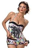 JOLIDON – PRELUDE – Maillot de Bain Deux Pièces Tankini Luxe – 100% Européen – Rembourré Mousse – Slip Panty – Imprimé – Femme – B Cup – 38 / 40 – M