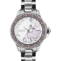 MEDOTA Saison Women's Studded Automatic Water Resistant Analog Quartz Watch - No. 7801 (Rhododendron)