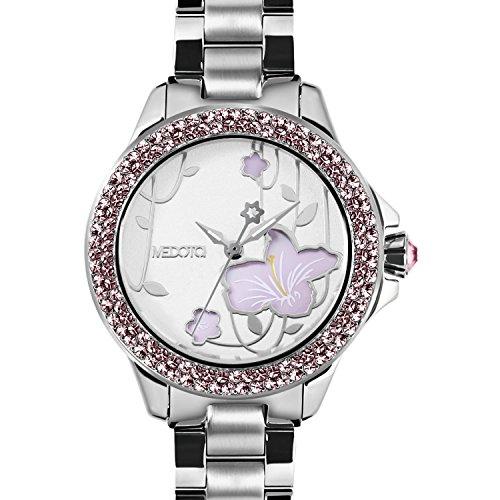 medota-saison-womens-studded-automatic-water-resistant-analog-quartz-watch-no-7801-rhododendron