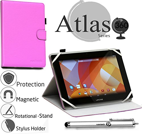Navitech stilvolles rotierbares 10 Zoll Stand Case Cover Hülle in Lila mit Stylus Pen für das HP Elitepad 1000 / Archos 101 Oxygen / Asus Memo Pad 10 ME103K (Lila Hp-computer)