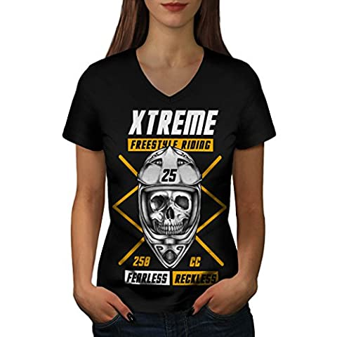 Freestyle motocross sport Femme L T-shirt à col en V | Wellcoda