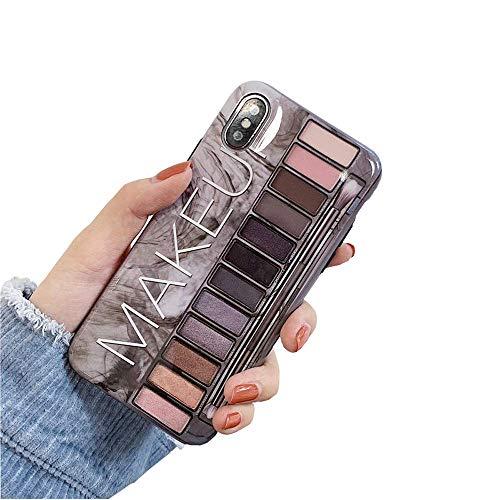 Bontujour, stylische luxuriöse Lidschatten-Palette, für Mädchen, modische Lidschatten, weiche TPU-Schutzhülle, glänzende Oberfläche, guter Schutz iPhone 7 Plus/8 Plus grau Flip Plus Audio
