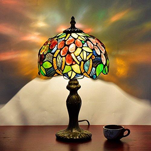 EuSolis Tiffany Mesilla de noche y lámparas de mesa Artesanía de 8 pulgadas Flores Vitrales E27 Lámparas de noche de lujo 01