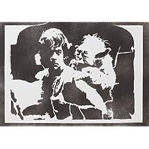Luke Skywalker Y Yoda STAR WARS Hecho A Mano - Handmade Street Art Poster
