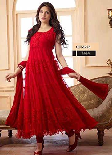 Rozdeal Women Brasso Salwar Suit Dress Material (Rdhp106-1454 _Red _Free Size)
