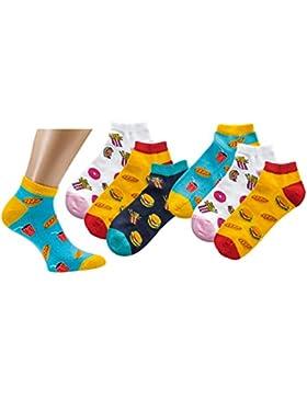 Jungen Mädchen Kids Damen Socken Strümpfe Sneaker Motiv Fastfood 3 er Set 27-30