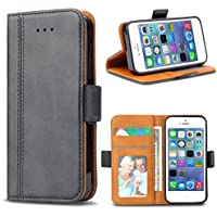 Bozon iPhone 5S Hülle, iPhone SE Hülle, iPhone 5 Hülle, Leder Tasche Handyhülle Flip Wallet Schutzhülle für iPhone 5/SE/5S mit Ständer und Kartenfächer/Magnetic Closure (Dunkel-Grau)